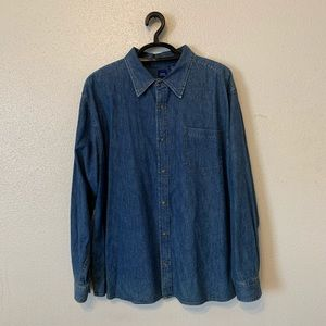 Basic Edition Denim Blue Jean Button Front Shirt
